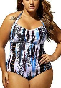 Other - Blue white multicolor plus size monokini swimsuit